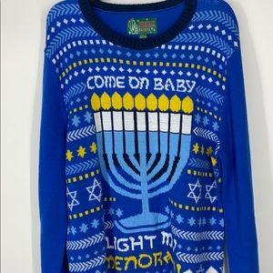 Come on baby light my menorah sweater XL